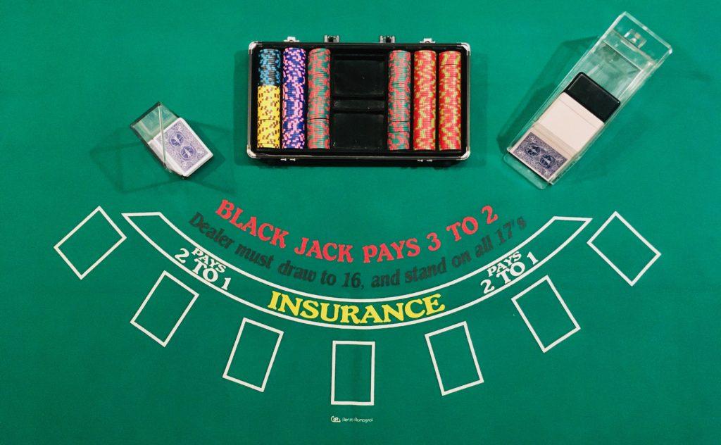 Table Black Jack Complet Vue Dessus